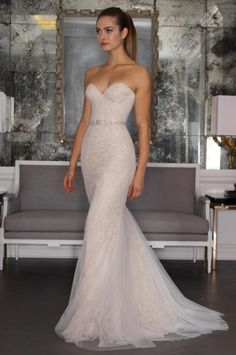 Romona Keveza 2016 wedding dress with sweetheart neckline, beaded belt, and lace and beading detail throughout bodice and A line skirt   https://www.theknot.com/content/romona-keveza-wedding-dresses-bridal-fashion-week-2016
