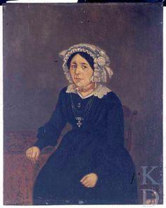 Jan Haak Portret van Louisa Josepha Weijn (1806 - Hulst 1850) Witte muts, oorhangers, bloedkoralen collier met gouden sluiting. Kanten kraag, zwart japon. Sierspeld in de vorm van een bloem. Ketting met kruishanger.  #Zeeland #Hulst