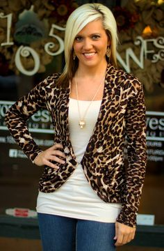 """Catina"" Leopard Cardigan.  S, M, L, XL, 2X, 3X.  $26.00.  Available at 105 West Boutique in Abbeville, SC.  (864) 366-WEST.  $5 shipping."