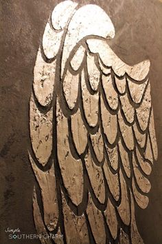 Raised relief angel wings stencil