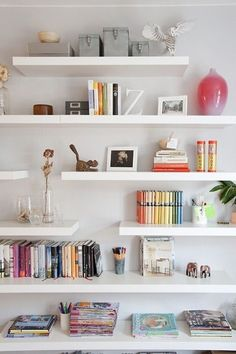 IKEA Lack shelf is a cool basic shelf, and you can use it wherever and however you want. IKEA Lack shelves can become nice corner shelves, floating . Ikea Lack Shelves, Lack Shelf, Floating Bookshelves, Floating Shelves Bathroom, Glass Shelves, Bedroom Shelves, White Wall Shelves, Shelf Nightstand, Shelf Wall