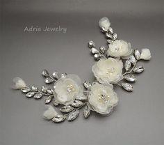 Bridal Hair Piece Ivory Bridal Hair Comb Wedding by adriajewelry