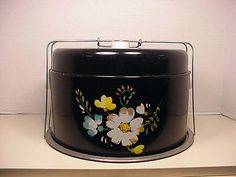 CAKE & PIE CARRIER VINTAGE HAND PAINTED TIN METAL BLACK W/ HAND PAINTED FLOWER | Collectibles, Kitchen & Home, Kitchenware | eBay!