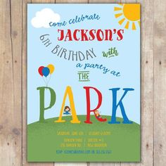 Playground birthday party invitations playground birthday party at the park custom digital birthday party invitation any age filmwisefo Gallery