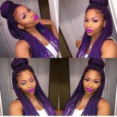 61 Totally Chic And Colorful Box Braids Hairstyles To Wear! Box Braids Hairstyles, Twist Hairstyles, Cool Hairstyles, Protective Hairstyles, Purple Box Braids, Purple Hair, Purple Ombre, Ombre Color, Curly Hair Styles