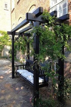 Have a beautiful and classy pergola to unwind after a long and tiring day. If you have limited space, you can place a swing along with plants. Use climbing vines to enhance the appeal of the exterior. Outdoor Pergola, Backyard Pergola, Outdoor Rooms, Backyard Landscaping, Modern Pergola, Flagstone Patio, Patio Stone, Patio Privacy, Concrete Patio