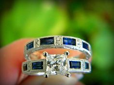 Kirk Kara engagement ring with sapphires and diamonds in white gold. You can find this at Diana Jewelers in Liverpool, NY. Right outside of Syracuse!