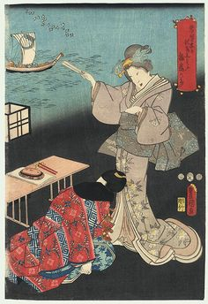 Beauty and Visitor, 1853 by Toyokuni III/Kunisada (1786 - 1864)