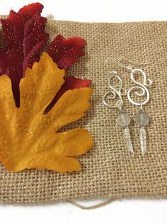 Hammered Silver Swirl Earrings with Quartz Points Silver Swirl Dangle Earrings Silver Dangle Earrings Cloudy Quartz Gemstone Earrings (E273) by JulemiJewelry on Etsy