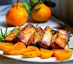 Now that's what we call a perfect vegan entrée! Citrus-Tamari Tofu Steaks with Warm Satsumas & Rosemar.