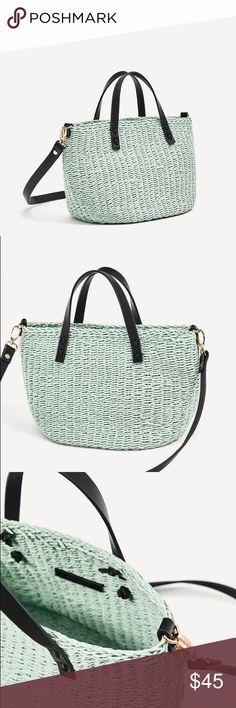 Zara mini braided tote bag Love seafoam green color and smaller size Zara Bags