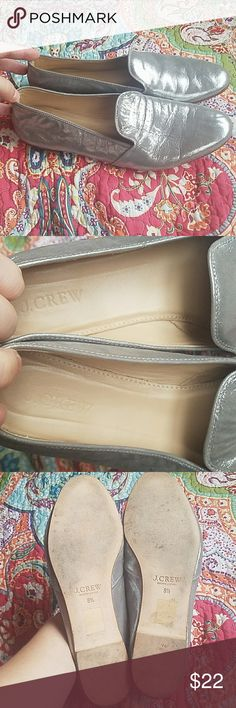 "J. Crew metallic suede ""cleo"" loafer Beautiful slip on loafers leather with a metallic suede upper, made in Morocco  size 8.5 run slightly small so nothing over an 8.5 sold out everywhere One has slightly more wear/crinkles than the other but doesn't show while wearing Only blemish is a tiny scratch on the front near bottom shown in last pic J. Crew Shoes Flats & Loafers"