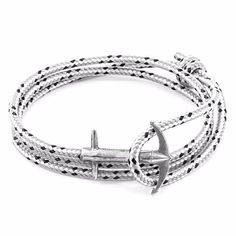 ANCHOR & CREW - Grey Dash Admiral Silver & Rope Bracelet