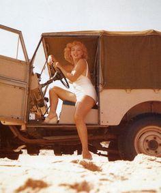 Marilyn, 1958 / jeep on Amagansett Beach, East Hampton, Long Island / photo by Sam Shaw