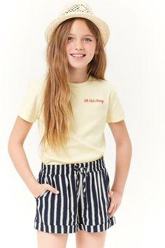 Girls Striped Shorts (Kids) - March 03 2019 at Kids Outfits Girls, Little Girl Outfits, Cute Outfits For Kids, Little Girl Fashion, Cute Summer Outfits, Kids Girls, Best Fashion For Boys, Tween Fashion, Fashion 2018