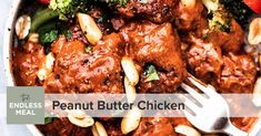 Peanut Butter Chicken is a DELICIOUS dinner recipe that the whole family will love. The flavorful peanut butter sauce for chicken is creamy & nutritious. Butter Chicken Sauce, Peanut Butter Chicken, Making Peanut Butter, Peanut Butter Sauce, Natural Peanut Butter, Quorn Chicken, Cilantro Chicken, Veggie Meals, Veggie Recipes
