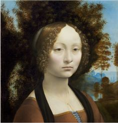 Natl Gallery of Art, Washington DC The only da Vinci in the western hemisphere. (The Mona Lisa is at the Louvre in Paris)   Ginevra de' Benci, 16 yrs. old  c. 1474/1478. Leonardo da Vinci  Florentine, 1452 - 1519