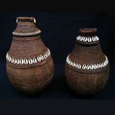 Africa | Lidded baskets from the Borana people of Ethiopia and Kenya | Handwoven and decorated with cowrie shells