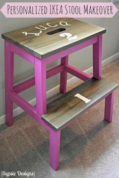 Personalized Pink Ikea Bekvam stool makeover - Kids birthday gift idea   sypsie.com