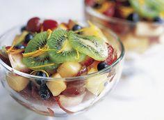 Fruit Salad with Orange-Blossom Syrup Recipe Desserts, Salads with orange flower water, sugar, orange, cantaloupe, pineapple, red grape, strawberries, blueberries, kiwi, mint