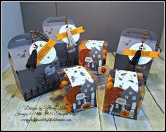 Bakers Box Thinlits, Clear Tiny Treat Boxes, Spooky Fun, Halloween Scares… Halloween Scene, Halloween Goodies, Halloween Night, Halloween Cards, Holidays Halloween, Halloween Treats, Halloween Treat Holders, Stampin Pretty, Fall Cards
