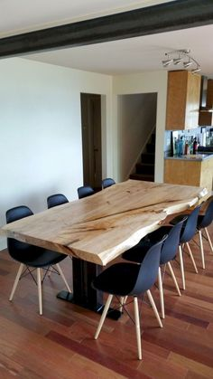 Natural Live Edge Wood Dining Tables – Serving The Greater Seattle Region — elpis&wood – Food: Veggie tables Slab Table, Walnut Dining Table, Dining Table Design, Natural Wood Dining Table, Unique Dining Tables, Wooden Dining Tables, Dining Room Table, Dining Rooms, Live Edge Table