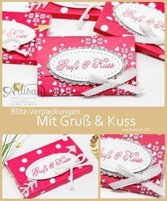 Schokoladen Verpackungen mit Stampin Up Designerpapier Liebe Grüße