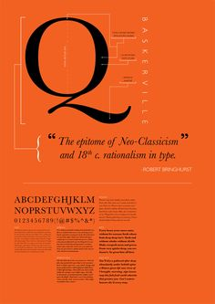 A poster for Baskerville. I like how only one letter is the focus of the piece and also how the artist, Anthony Bayoneto, writes out the characteristics of the font and uses it as part of the poster.