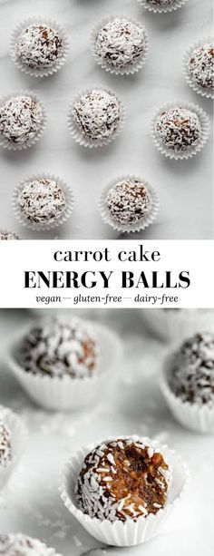 These Carrot Cake Energy Balls make a delicious snack that tastes just like carrot cake! Loaded with warm spices, superfoods, and shredded carrots, they're healthy bites to fill you up! Healthy Vegan Snacks, Yummy Snacks, Sugar Free Recipes, Sweet Recipes, Vegan Dessert Recipes, Snack Recipes, Desserts, Lizard Food, Chia Recipe