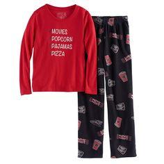 59a13b3b01 Girls 7-16 Jammies For Your Families Movie Night Top   Fleece Bottoms Pajama  Set