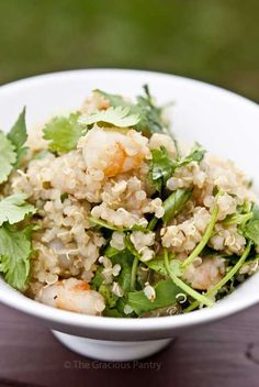 Clean Eating Quinoa Garlic Shrimp & Cilantro Salad