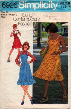 edab85586502 Simplicity 6926 Womens Sundress or Jumper Dress 70s Vintage Sewing Pattern  Size 12 Bust 34 inches