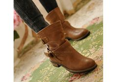 Casual Chunky Heel Women's Short Boots Pure Color and Buckle Design