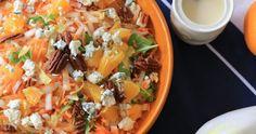 Witlof, het bittere in combinatie met het zoete van de sinaasappel en hartige van de danish blue kaas. Match made in heaven! Bitter, Cantaloupe, Fruit, Ethnic Recipes, Food, Salads, Meals