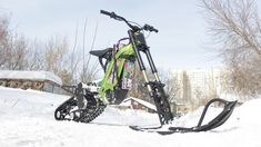 Snowbike kit for the Surron X electric motorcycle from SNOWBIKE LLC. No equivalent in the world. Easy to install on the Surron family of motorcycles. No special skills or tools required. The kit turns the Surron into a lightweight snowmobile. You will be able to use your Surron in winter on snow up to 50 cm deep. Get new emotions from your bike. Bicycle, World, Motorcycles, Electric, Snow, Deep, Winter, Easy, Winter Time