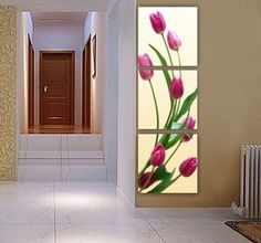 FRAMED 3 PIECE PURPLE TULIP FLOWER WALL ART! MODERN ART SALE FREE SHIPPING – YOUR ART & DECOR