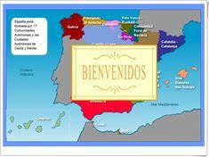 """""""La organización de España"""" es un mapa interactivo en el que se muestran las Comunidades Autónomas, y sus imágenes y características más representativas pinchando, en cada una de las comunidades. Comics, Socialism, Interactive Activities, School Projects, Science Lessons, Social Science, Constitution Day, Interactive Map, Science Area"""