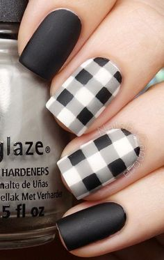 Black and white plaids nail art design. Be different and design your black and white polish into these quirky plaid designs. nail art designs 2019 nail designs for short nails 2019 essie nail stickers nail art stickers how to apply nail stickers walmart Nail Polish, Gel Nails, Pink Nails, Acrylic Nails, Nail Nail, Coffin Nails, Stiletto Nails, Black Nail Designs, Cute Nail Designs