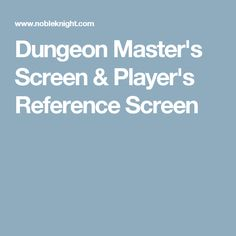 Dungeon Master's Screen & Player's Reference Screen