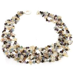 """23"""" Multi Strands White Freshwater Pearl & Multi Color Stone Chips Necklace for only $19.99  [ I have choker length (chunky) multiple twisted strands of white and pale gray or pastel-colored pearls with stone chips ...went crazy and bought a few sets one year - pink (rose quartz)& white, green (peridot)& white, blue (aquamarine)& white, yellow (citrine)& white, lavender (pale amethyst)& white...re-doing a few - to make longer necklaces, bracelets, earrings for gifts!  kj ]"""
