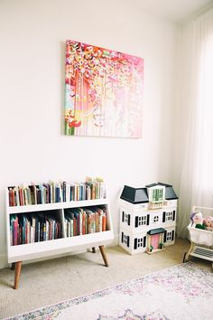My First Table & Chairs - Hello Baby Brown: Playroom Tour! Baby Brown, Ikea Baby Room, Playroom Organization, Playroom Ideas, Loft Playroom, Baby Playroom, Bookshelves Kids, Kid Friendly Bookshelves, Bookcase