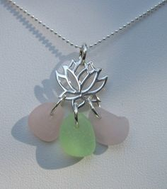 Unique seaglass necklace with 3 rare colors on sterling lotus flower