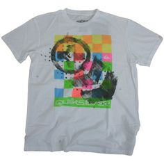 Quiksilver Mens Quiksilver Electrolution Tee White Super Bright Tee with Quiksilver Branded Design. http://www.comparestoreprices.co.uk/t-shirts/quiksilver-mens-quiksilver-electrolution-tee-white.asp