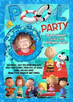Peanuts Invitation, Charlie Brown Pool Party, Snoopy Invite Pool Party Invitations, Invite, Birthday Bash, Birthday Parties, Splish Splash, Large Photos, High Resolution Photos, Peanuts, Charlie Brown