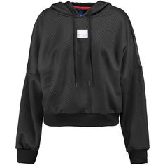 adidas Originals Textured-jersey hooded sweatshirt ($55) ❤ liked on Polyvore featuring tops, hoodies, black, textured top, jersey hoodies, textured hoodie, oversized tops and adidas originals hoodies
