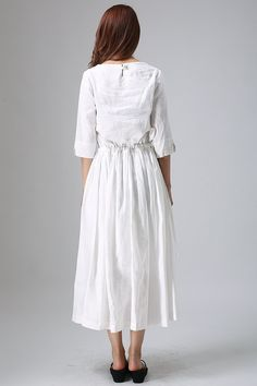 white linen dress pleated dress elastic waist dress three