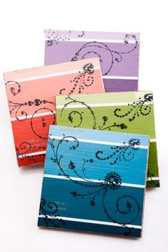 Paint Chip Coasters  Jewel Tones by PaintChicks on Etsy, $10.00