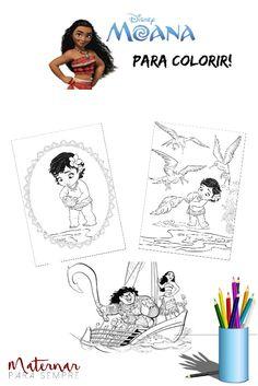 São 16 desenhos de Moana, para colorir e imprimir. Moana Waialiki é uma corajosa jovem, filha do chefe de uma tribo na Oceania.