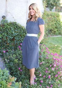"""""""Kelsey"""" Modest Dress in Hale Navy - XL"""