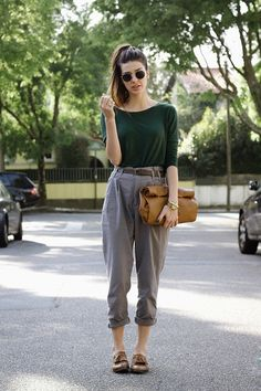 Sweater + trousers. Clutch. Shoes. Shades.